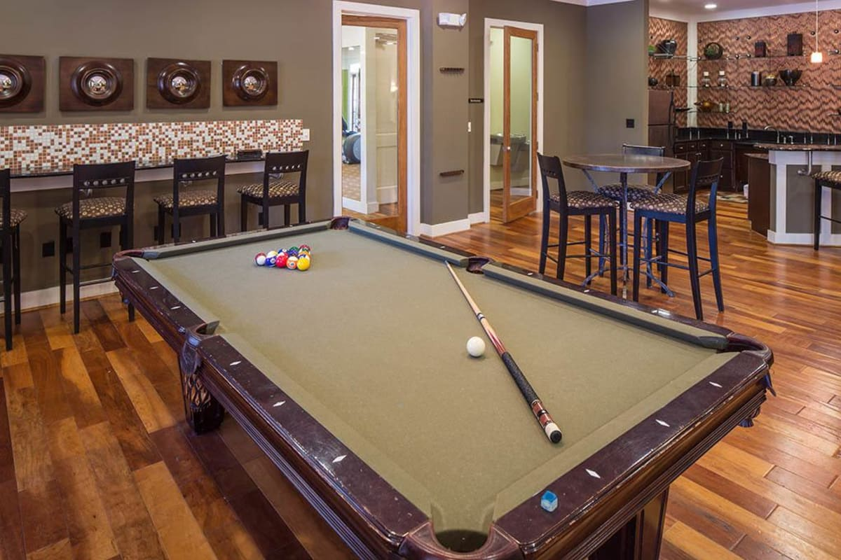 Billiards table in the resident clubhouse at The Preserve at Greison Trail in Newnan, Georgia