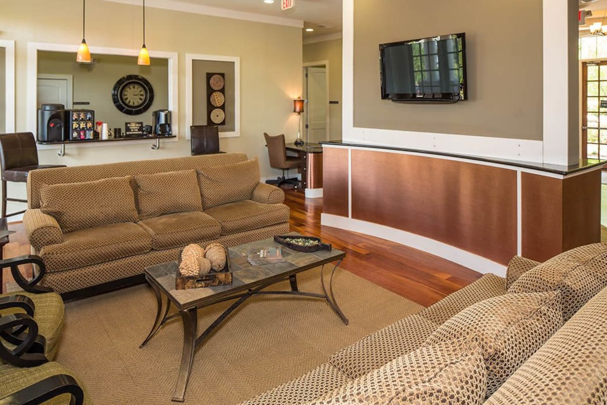Lounge area with a flatscreen TV in the lobby at The Preserve at Greison Trail in Newnan, Georgia