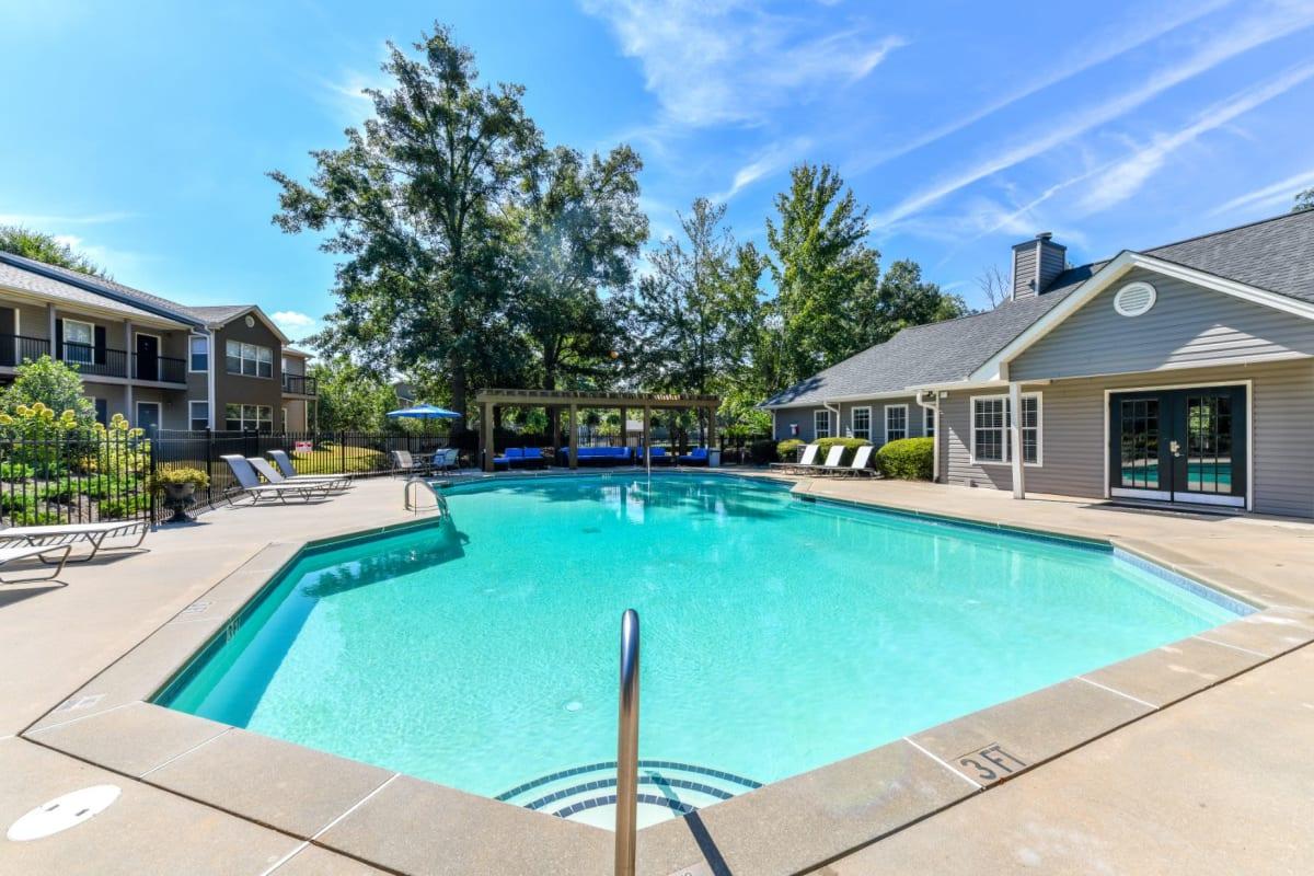 Resort-style swimming pool at 900 Dwell in Stockbridge, Georgia