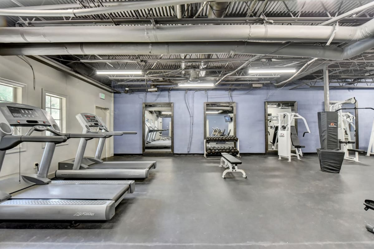 Fully equipped fitness center at Fields at Peachtree Corners in Norcross, Georgia