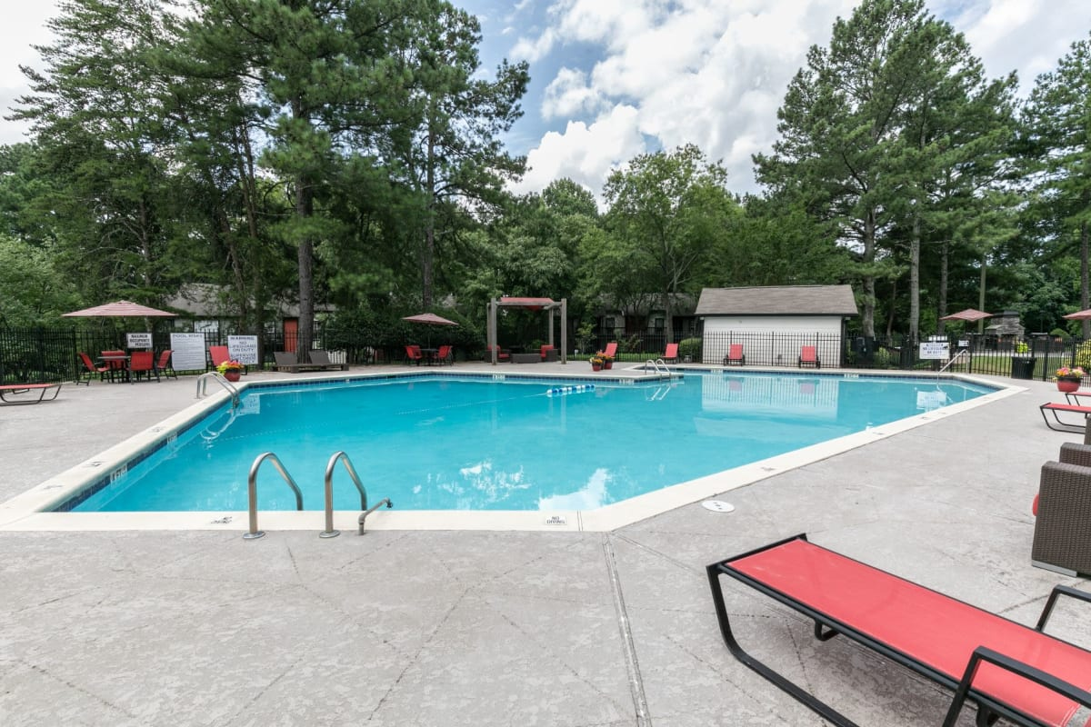 Poolside lounge at The BelAire Apartment Homes in Marietta, Georgia