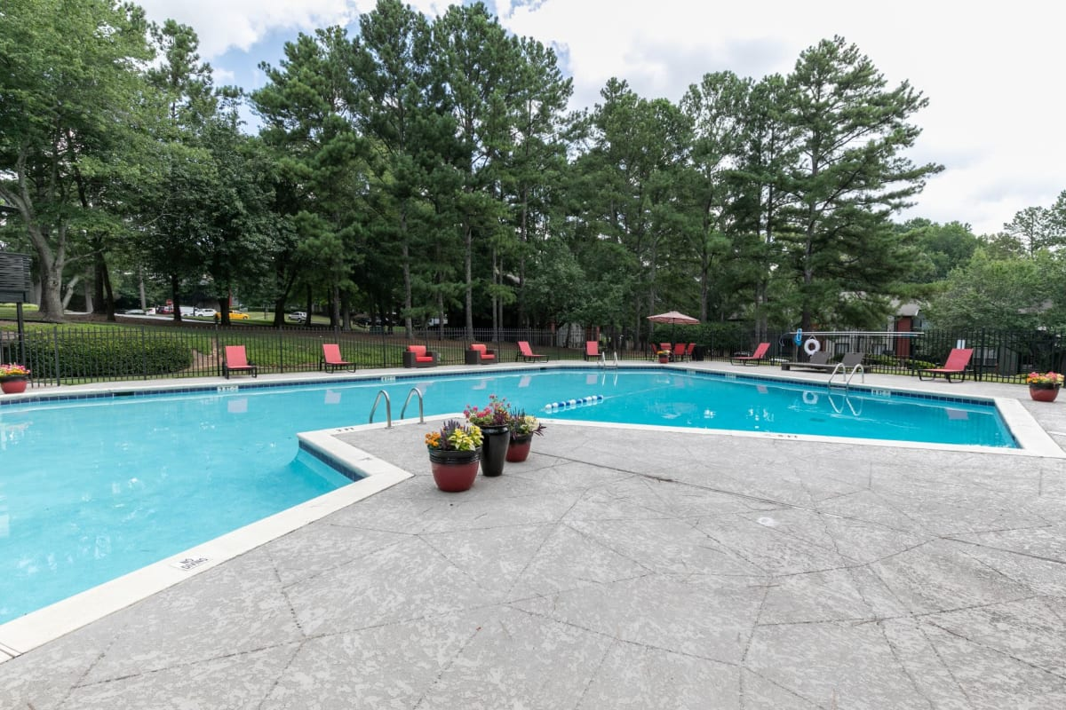 Sparkling swimming pool at The BelAire Apartment Homes in Marietta, Georgia