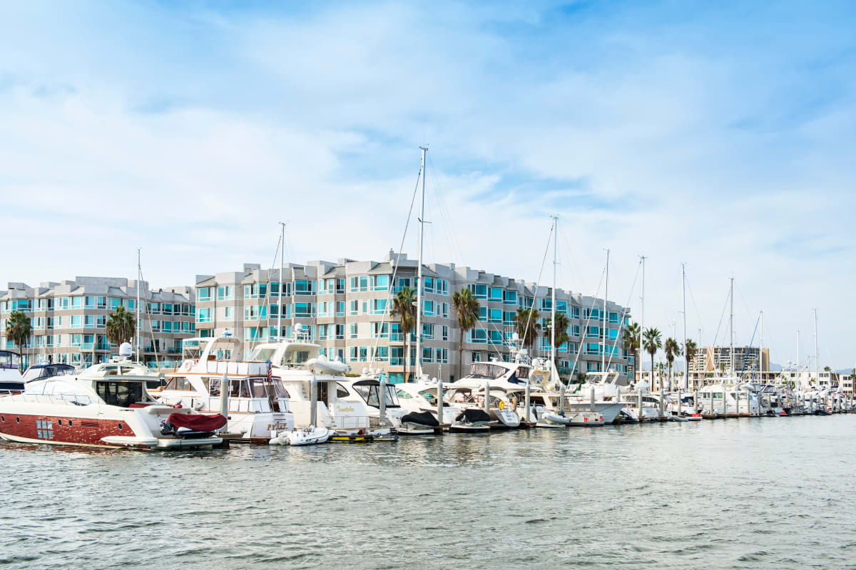 View of our community and the marina from the water near Esprit Marina del Rey in Marina Del Rey, California