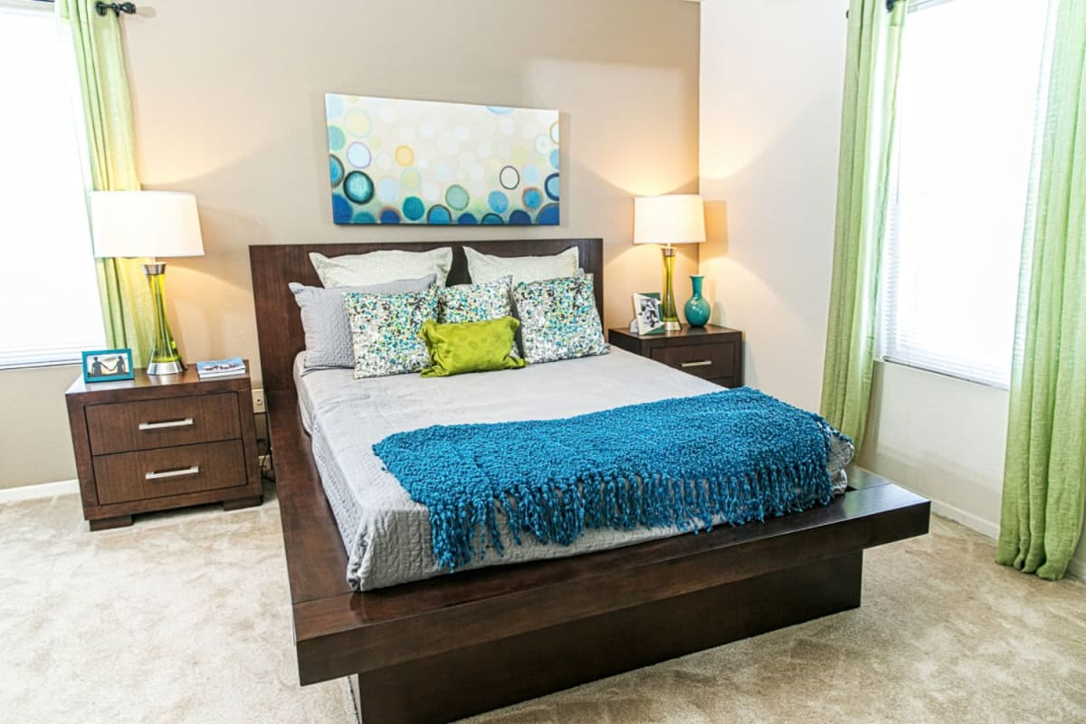 Well decorated bedroom at The Views at Laurel Lakes in Laurel, Maryland