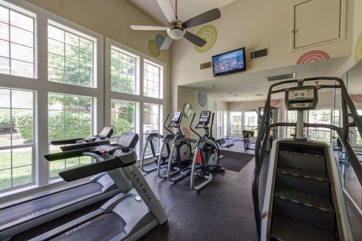 Fully equipped fitness center at The Views at Laurel Lakes in Laurel, Maryland