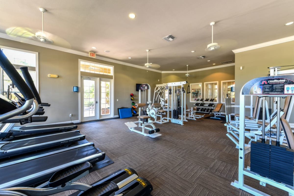 Fully equipped fitness center at Courtney Isles in Yulee, Florida