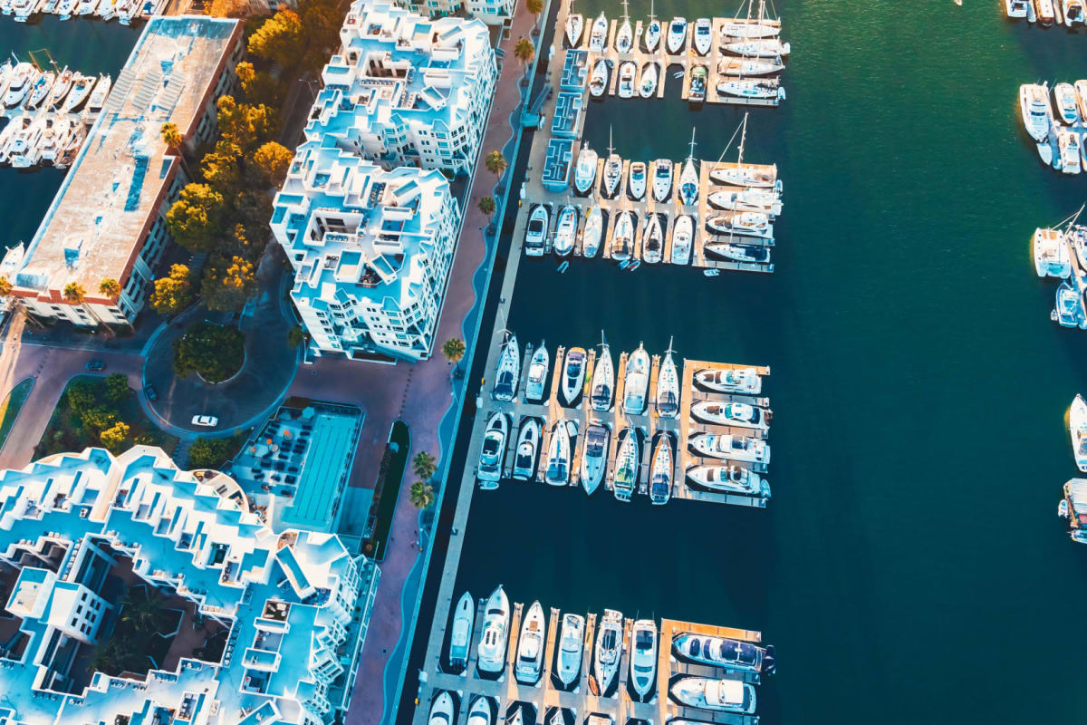 Aerial view of the marina and community at Esprit Marina del Rey in Marina Del Rey, California