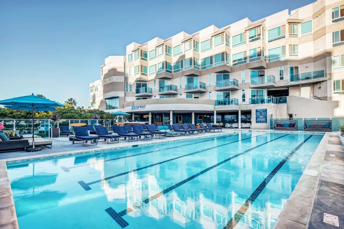 Lap pool and outdoor lounge at Esprit Marina del Rey in Marina del Rey, California