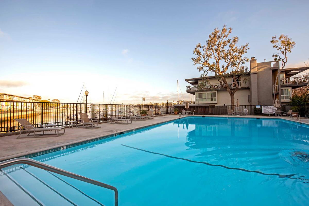Swimming pool area at The Tides at Marina Harbor in Marina Del Rey, California