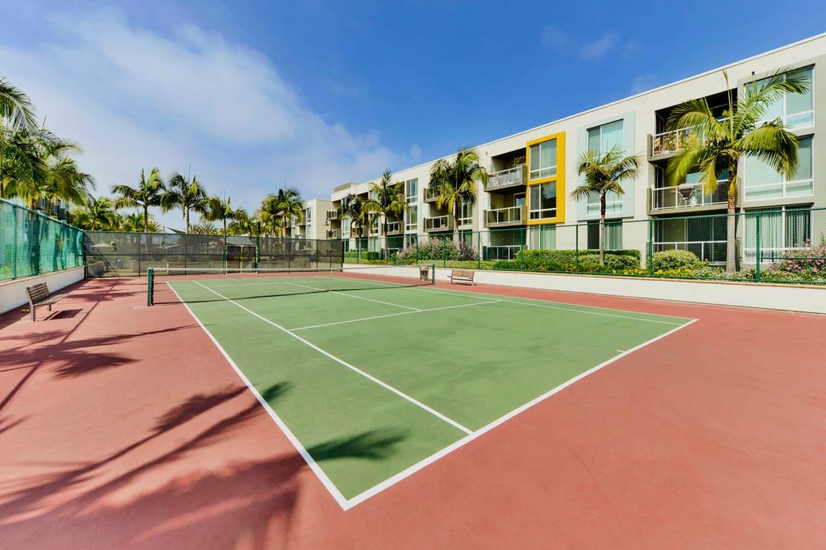 Onsite tennis courts at The Tides at Marina Harbor in Marina Del Rey, California