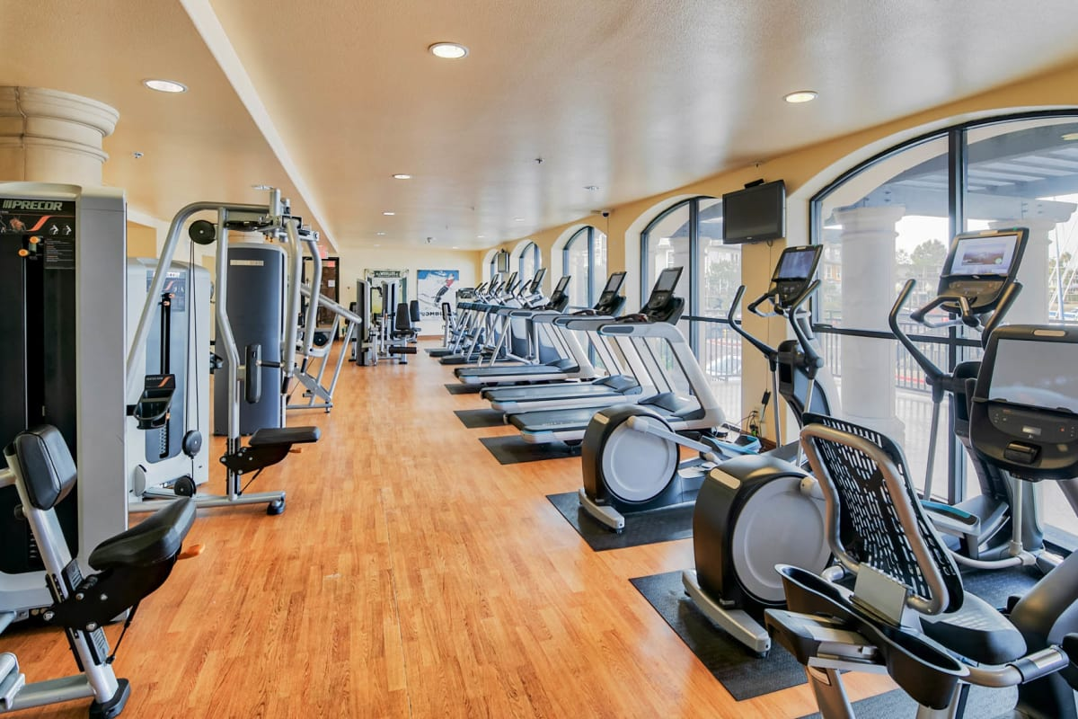 State-of-the-art fitness studio at Waters Edge at Marina Harbor in Marina Del Rey, California