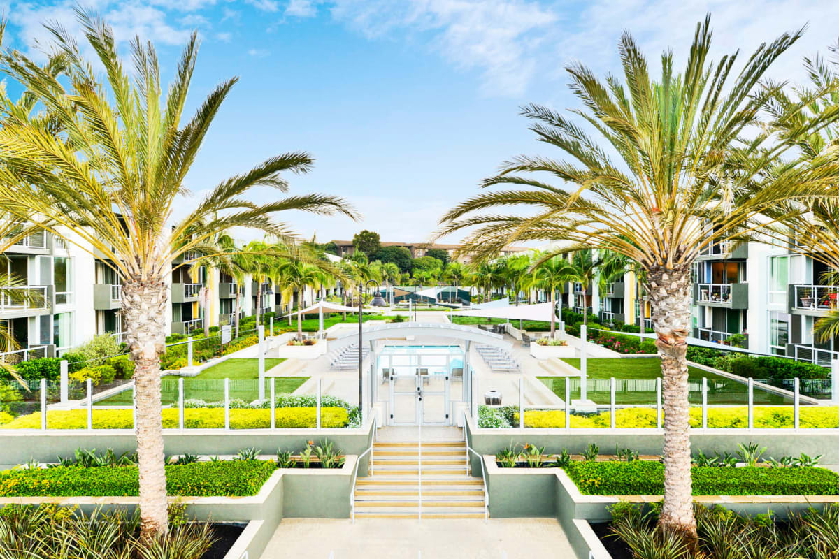 Palm trees and professionally maintained landscaping throughout our waterfront community at Waters Edge at Marina Harbor in Marina Del Rey, California