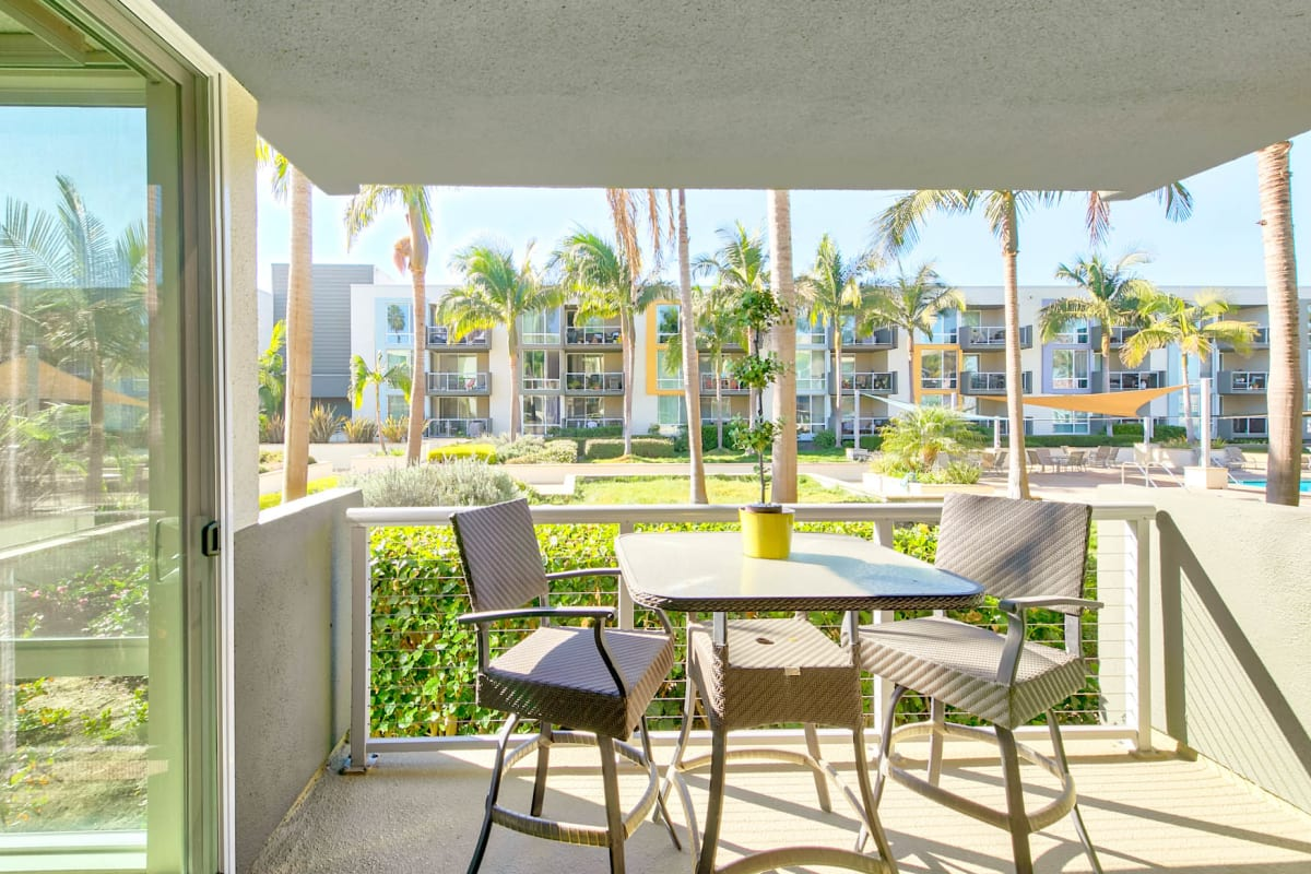 Model home's private balcony overlooking our beautiful waterside neighborhood at Waters Edge at Marina Harbor in Marina Del Rey, California