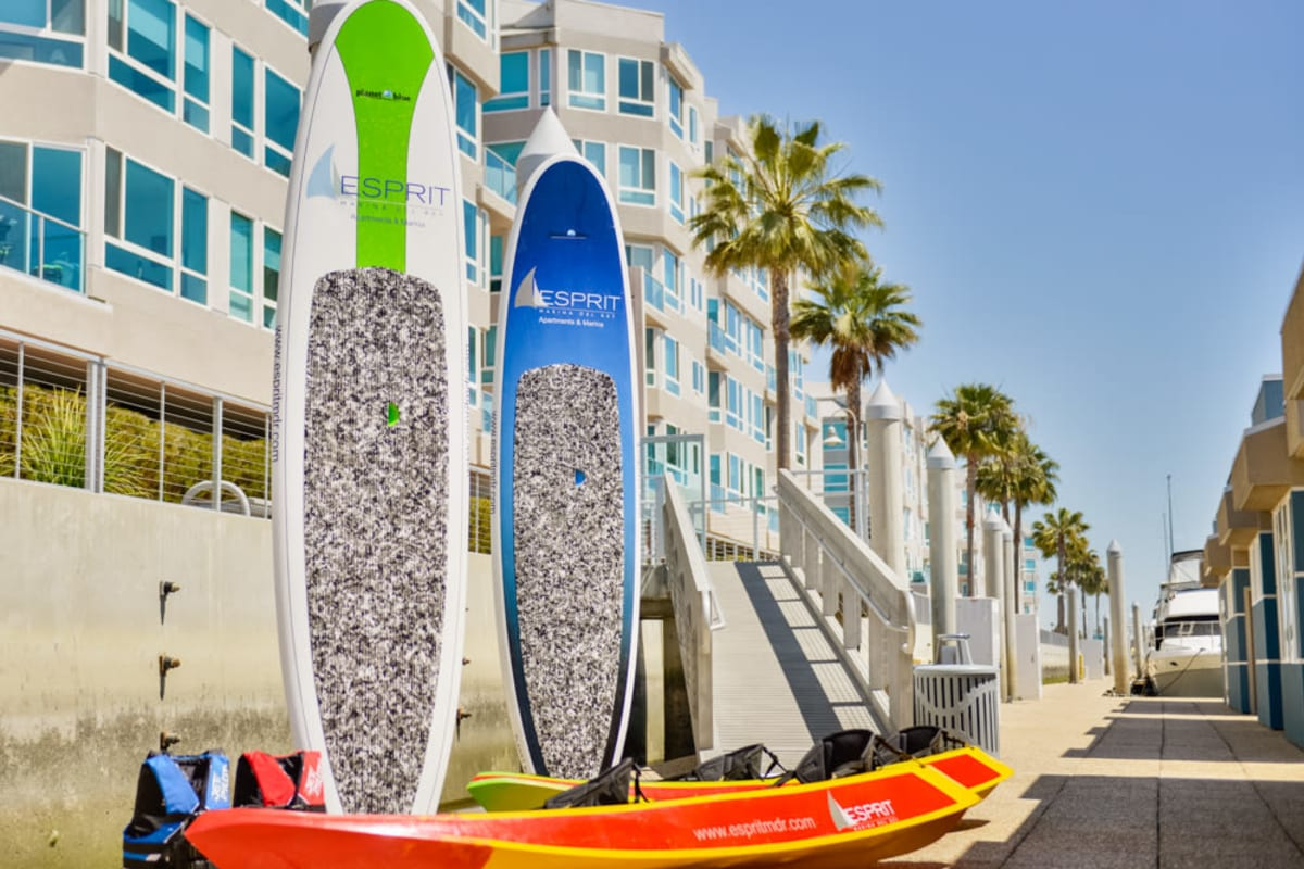Kayaks available for resident and guest use at Esprit Marina del Rey in Marina del Rey, California