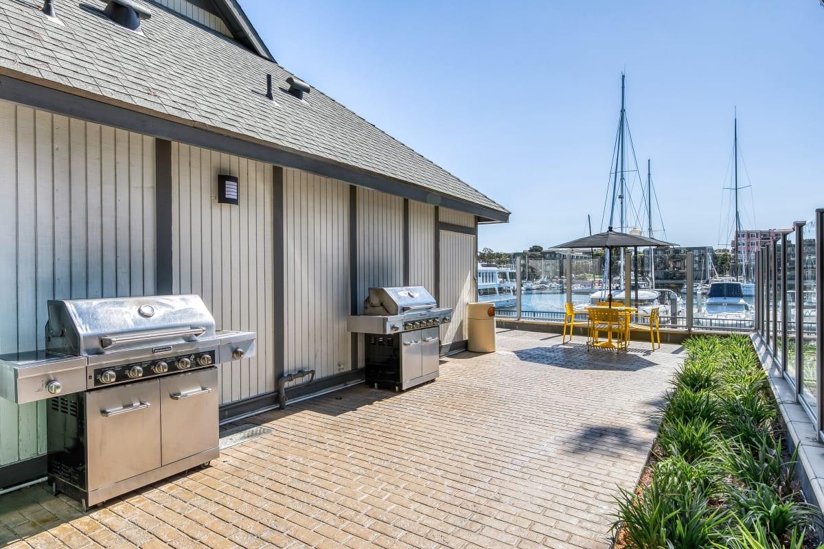 Grilling stations near the marina at Marina Harbor in Marina del Rey, California