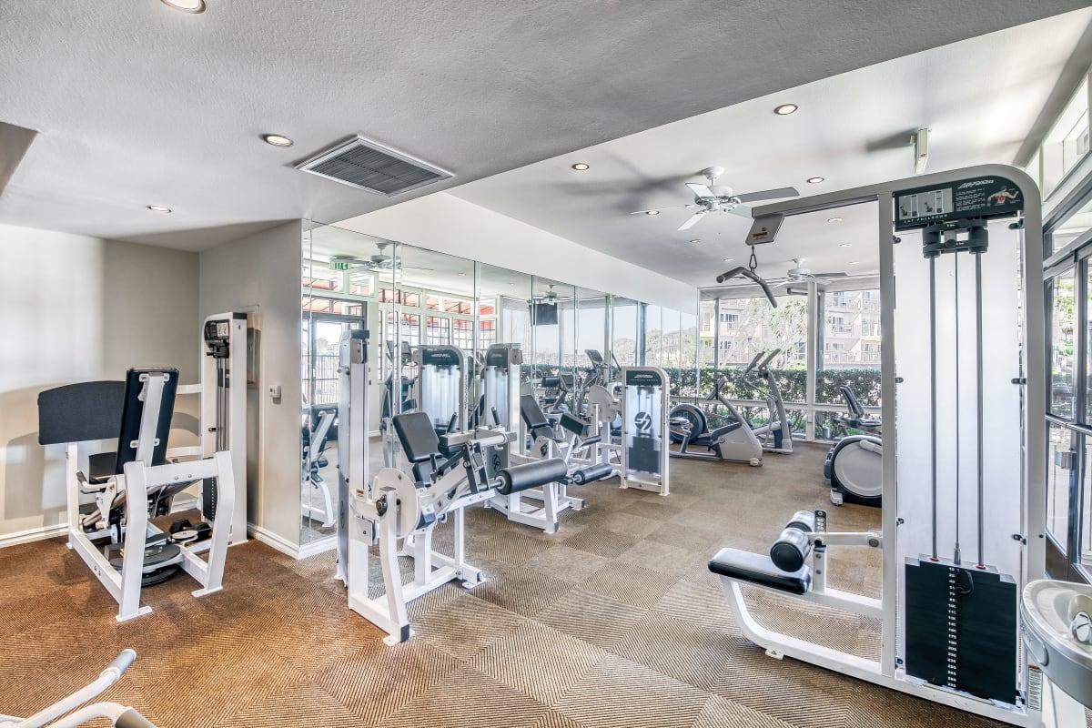 Well-equipped fitness studio at Marina Harbor in Marina del Rey, California
