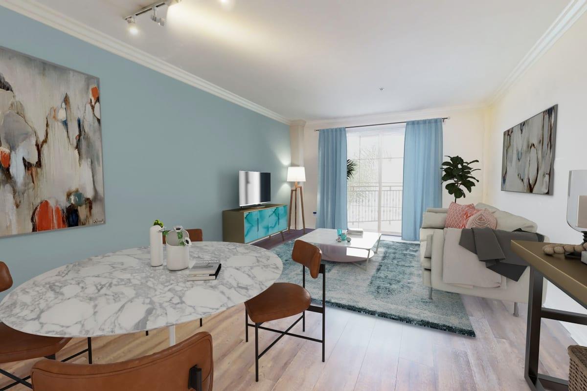 Waterfront one-bedroom apartment with plank flooring at The Villa at Marina Harbor in Marina del Rey, California