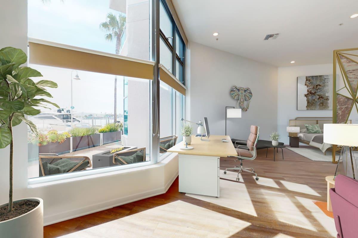 Spacious loft apartment with a view of the marina and hardwood floors at Esprit Marina del Rey in Marina Del Rey, California