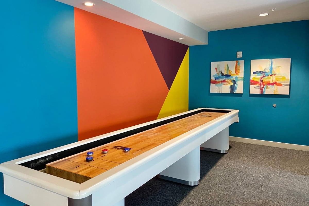Shuffle board in game room at Indigo 19 in Virginia Beach, Virginia