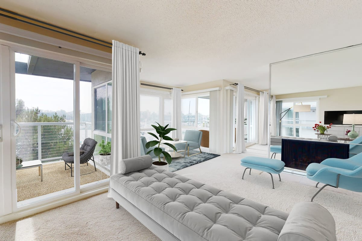 Open-concept apartment home with expansive waterfront views at The Tides at Marina Harbor in Marina Del Rey, California