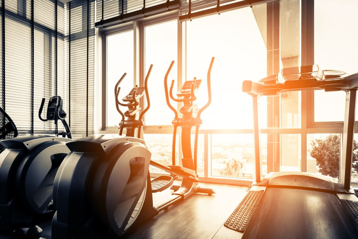 Treadmills and cardio machines in the fitness center at Solera at City Centre in Palm Beach Gardens, Florida