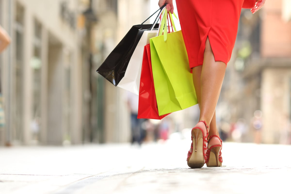 Resident finishing up some retail therapy at the boutiques near Solera at City Centre in Palm Beach Gardens, Florida