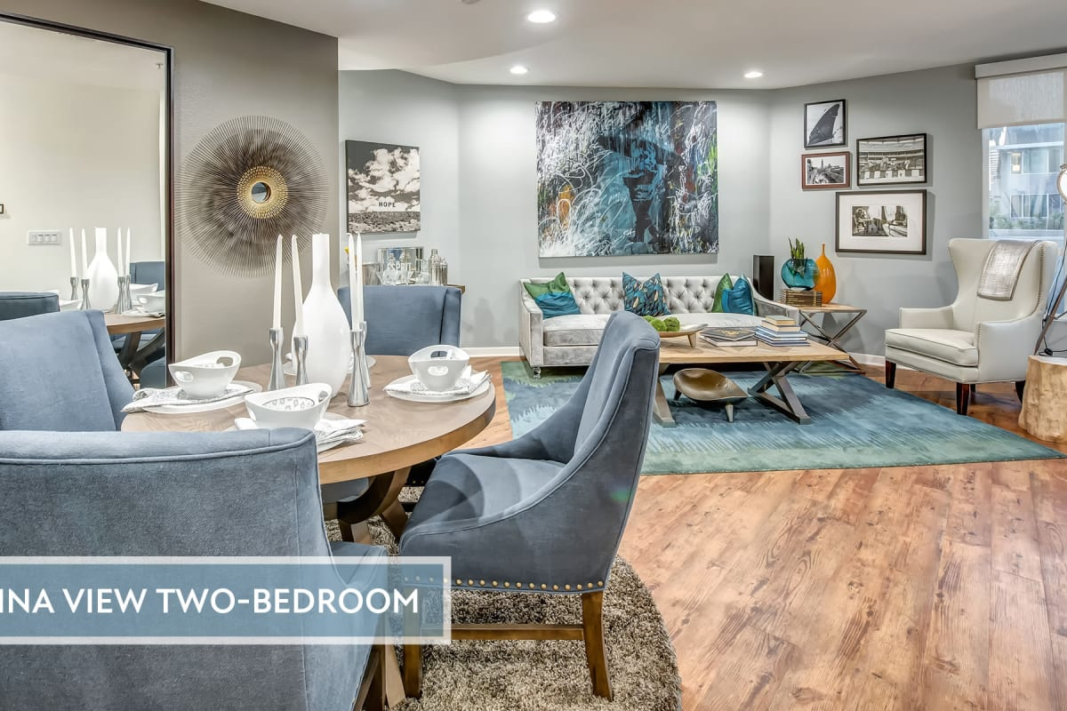 Spacious and well-decorated open-concept model home with hardwood floors at Esprit Marina del Rey in Marina del Rey, California