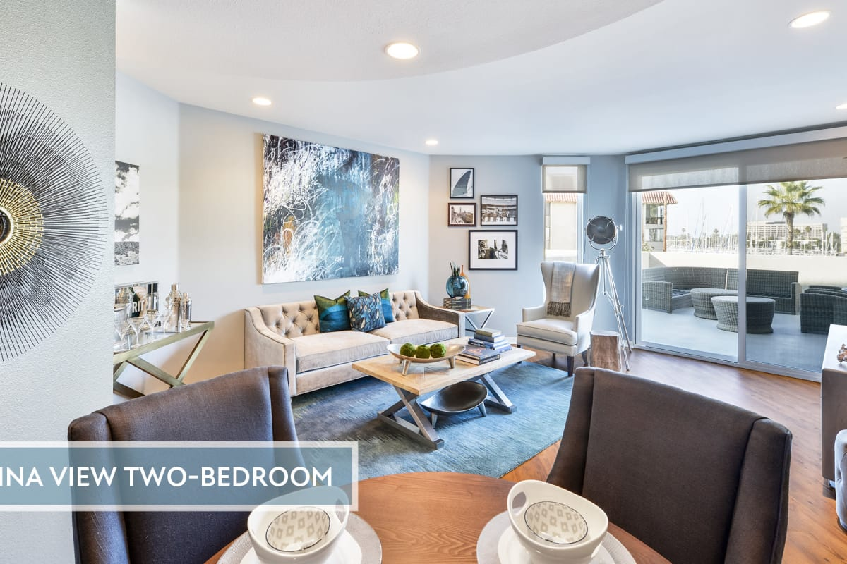 Beautifully decorated model home's open-concept living area at Esprit Marina del Rey in Marina del Rey, California