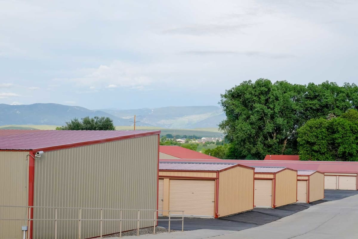 A wide driveway for loading outdoor units at Storage Star Sheridan in Sheridan, Wyoming