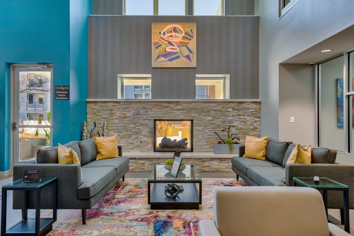 Fireplace and sitting area at Indigo 19 in Virginia Beach, Virginia
