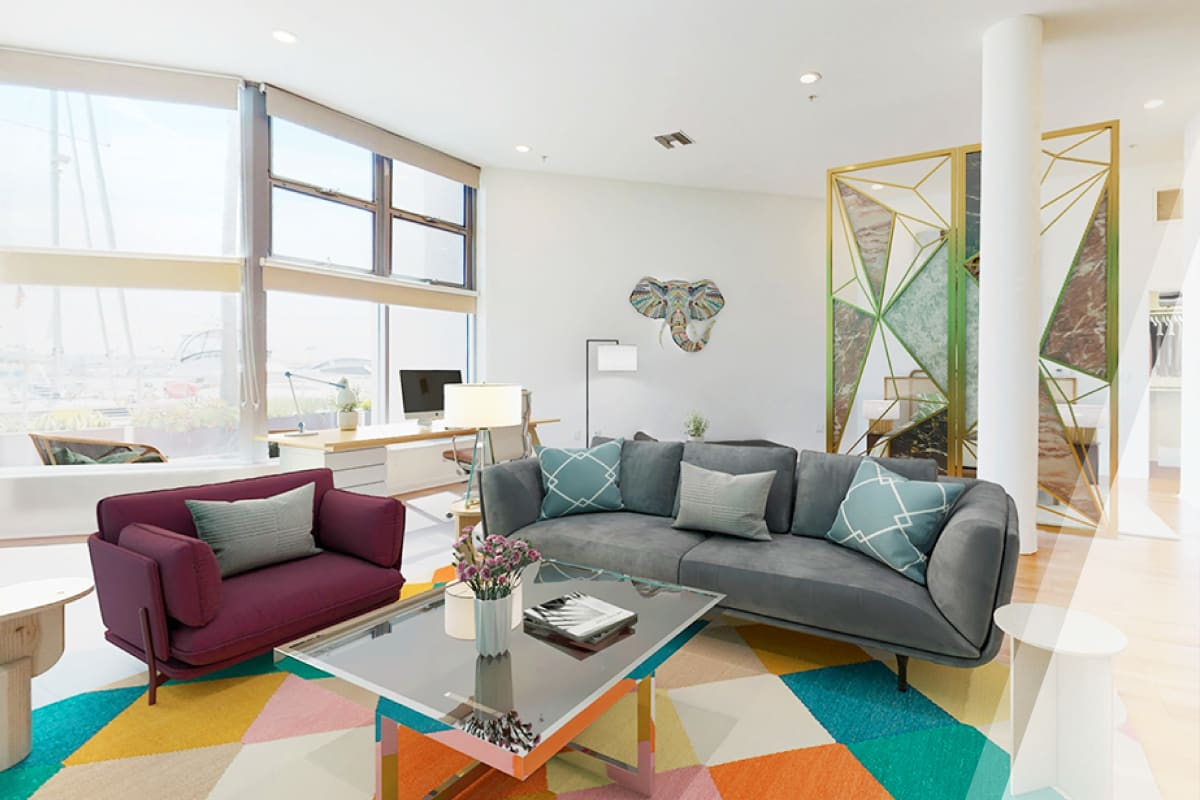 Luxury model home's well-furnished living space by E&S Ring Management Corporation in Los Angeles, California