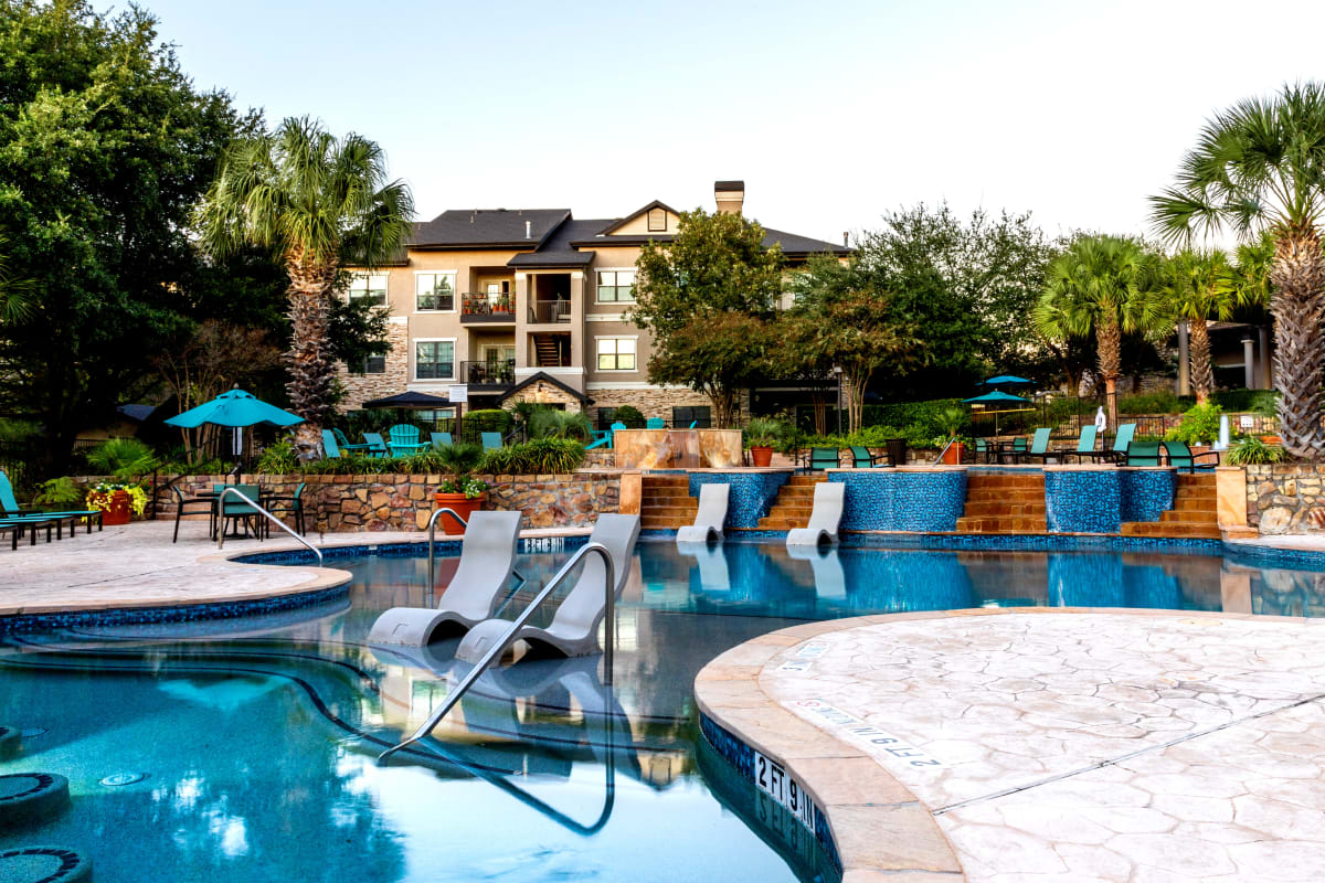 Resort-style swimming pool at Marquis Parkside in Austin, Texas