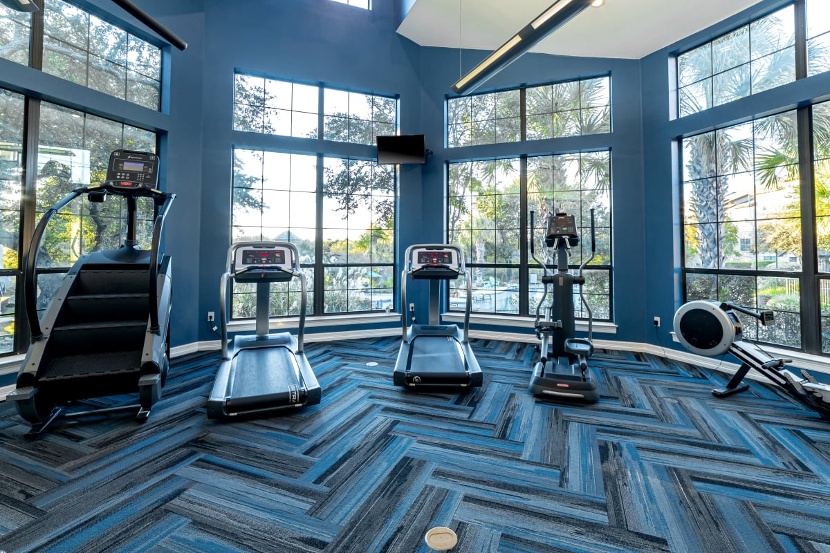 Fully equipped fitness center at Marquis Parkside in Austin, Texas