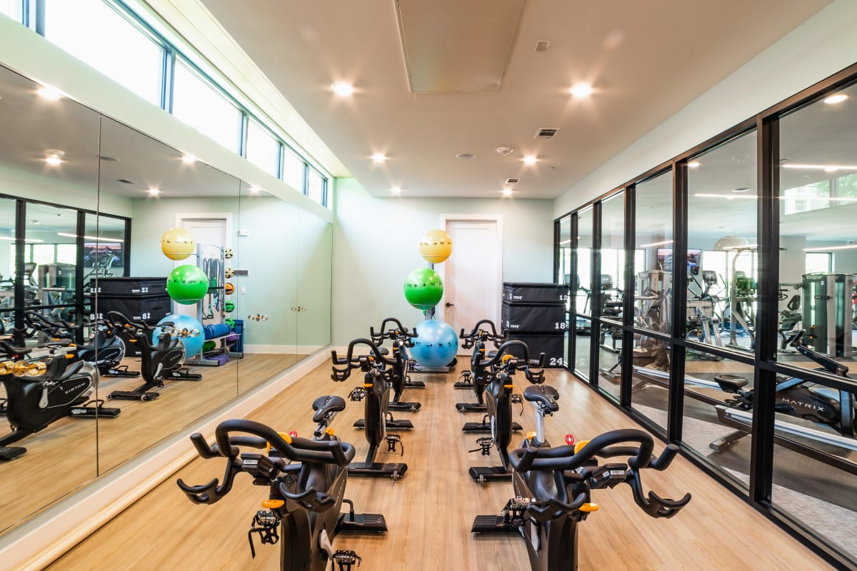Fully equipped fitness center at The Clark in Austin, Texas