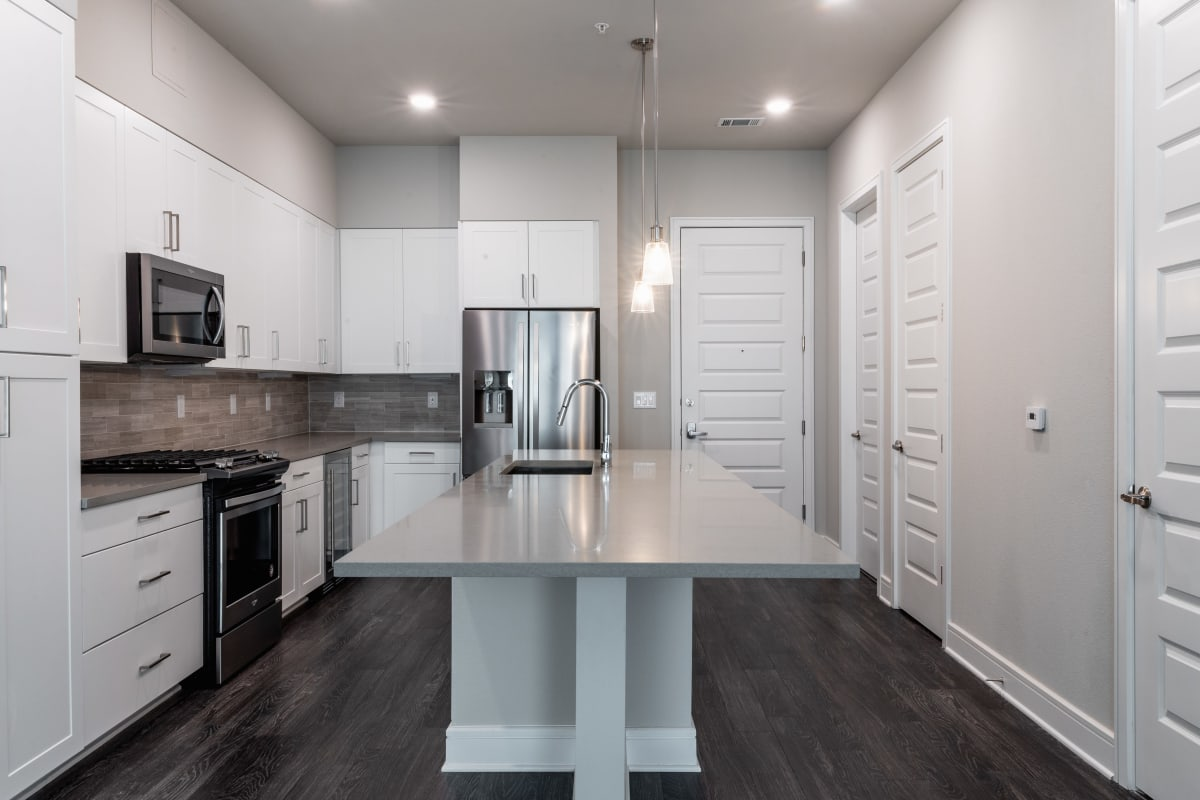 Kitchen with granite counters at The Clark in Austin Texas,