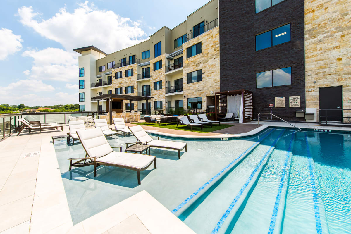 Resort-style swimming pool at Water Marq in Austin, Texas