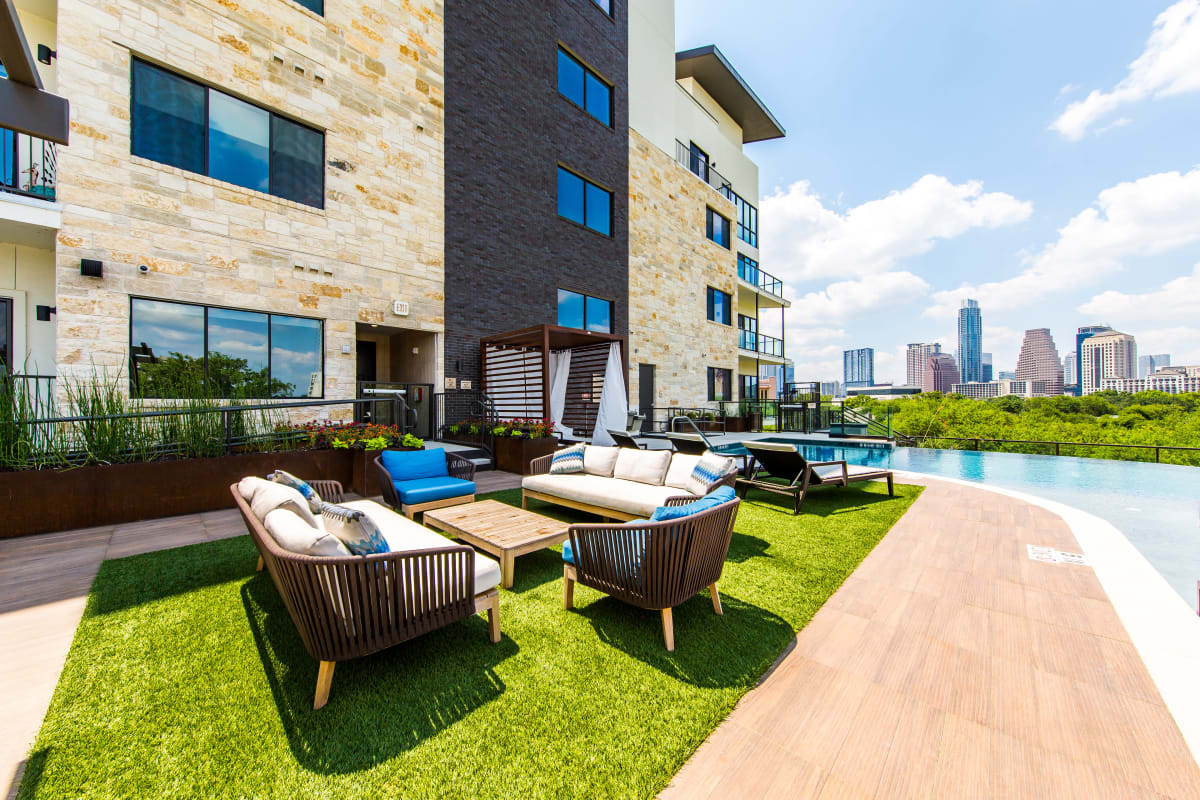 Poolside outdoor lounge at Water Marq in Austin, Texas