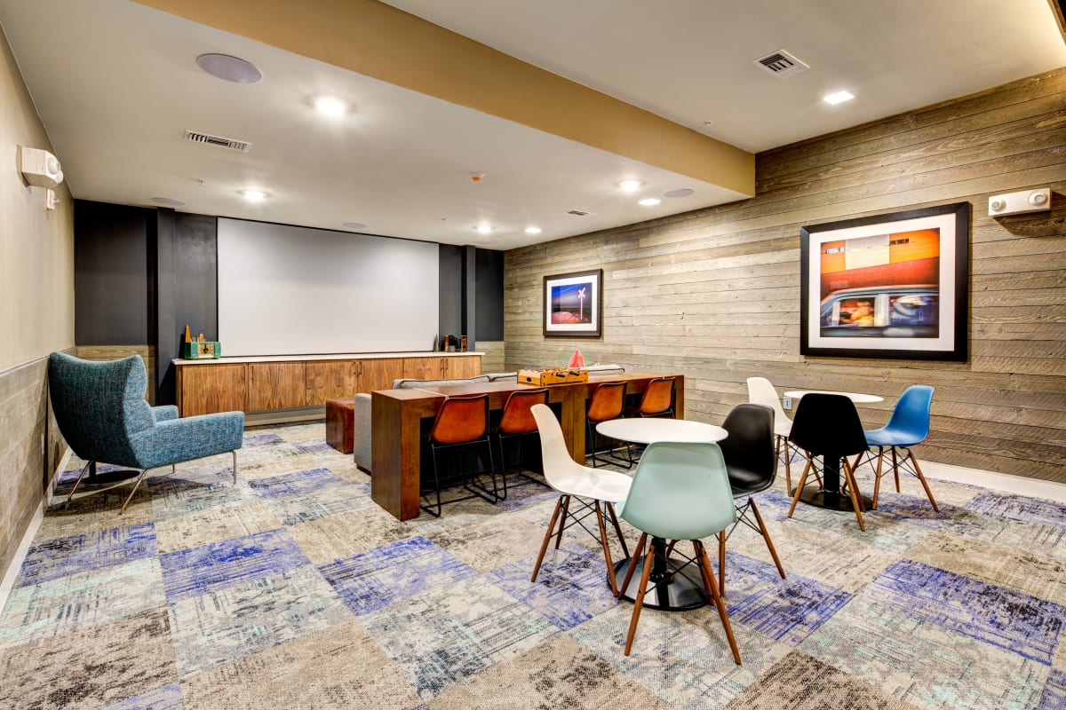 Movie viewing room at Water Marq in Austin, Texas