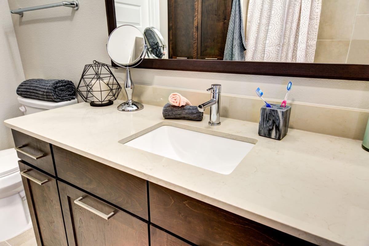 Clean bathroom counter at Water Marq in Austin, Texas