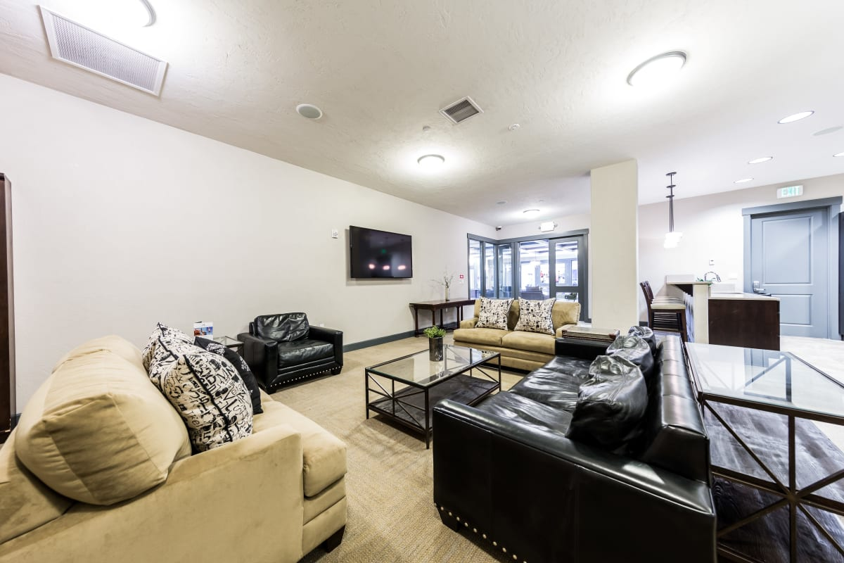 Indoor lounge for residents at Copperline at Point Ruston in Tacoma, Washington