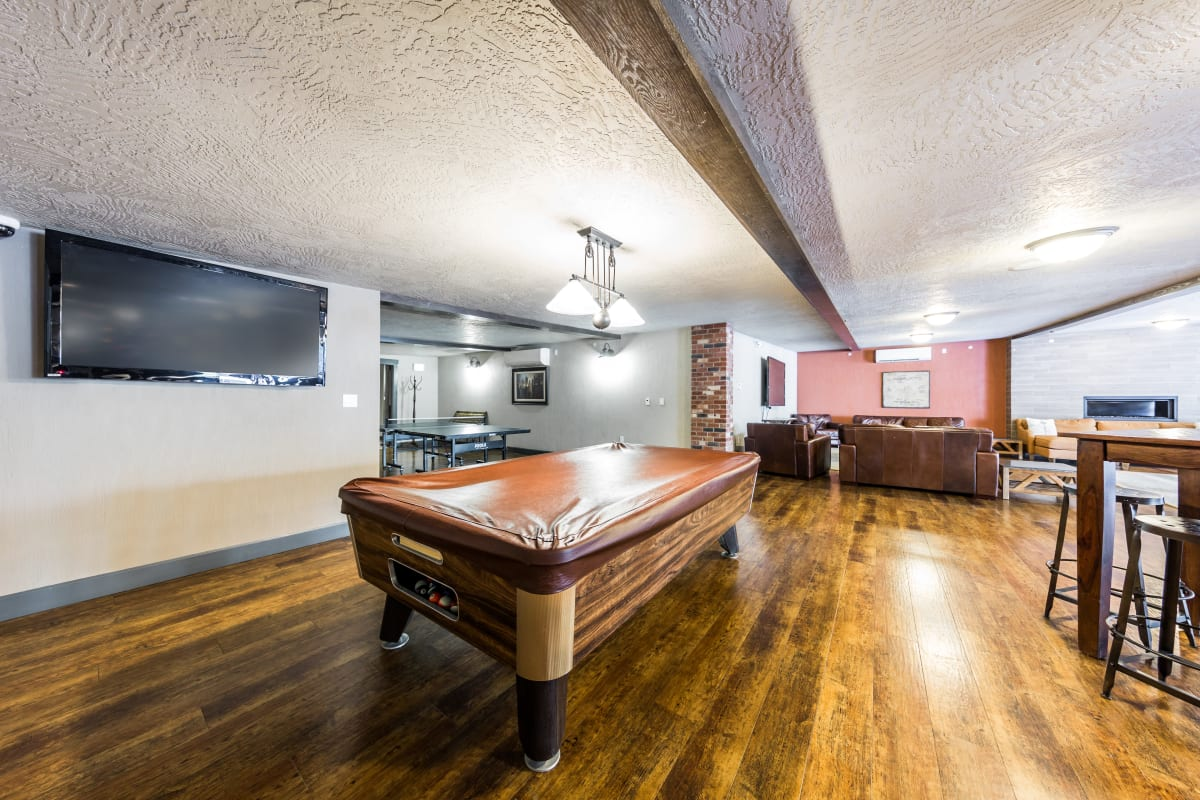 Clubroom with billiards at Copperline at Point Ruston in Tacoma, Washington