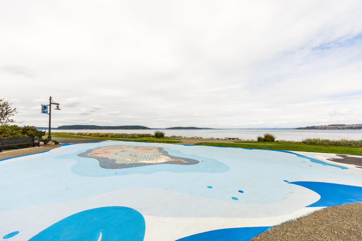 Outdoor park at Copperline at Point Ruston in Tacoma, Washington