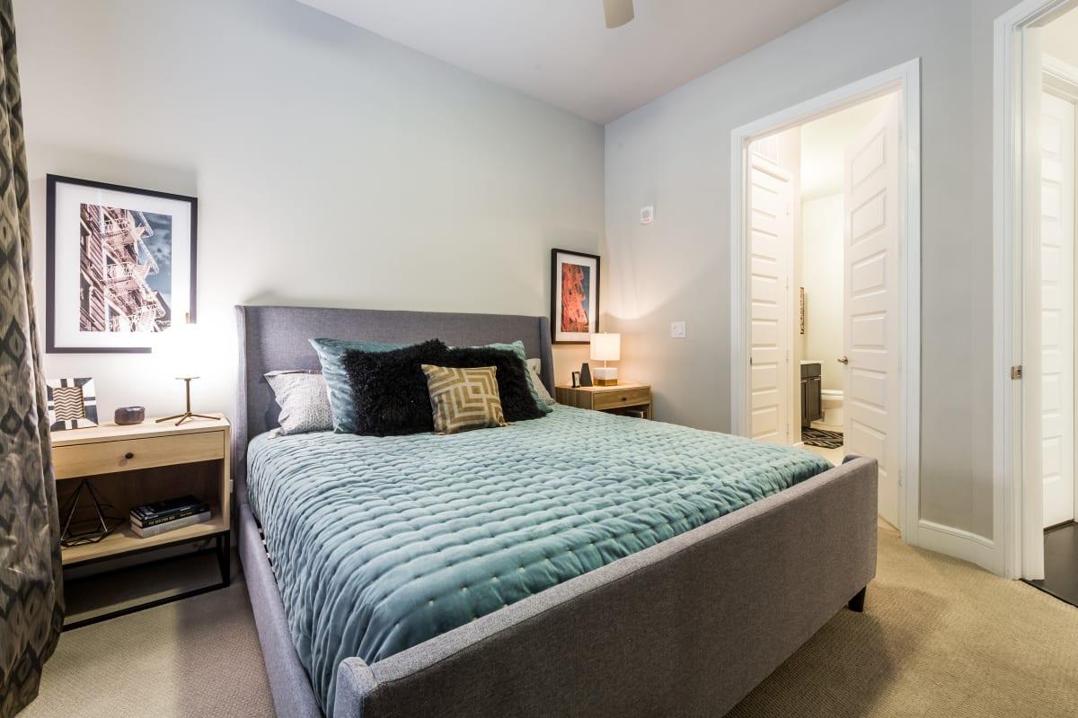 Cozy bedroom at Marq 31 in Houston, Texas