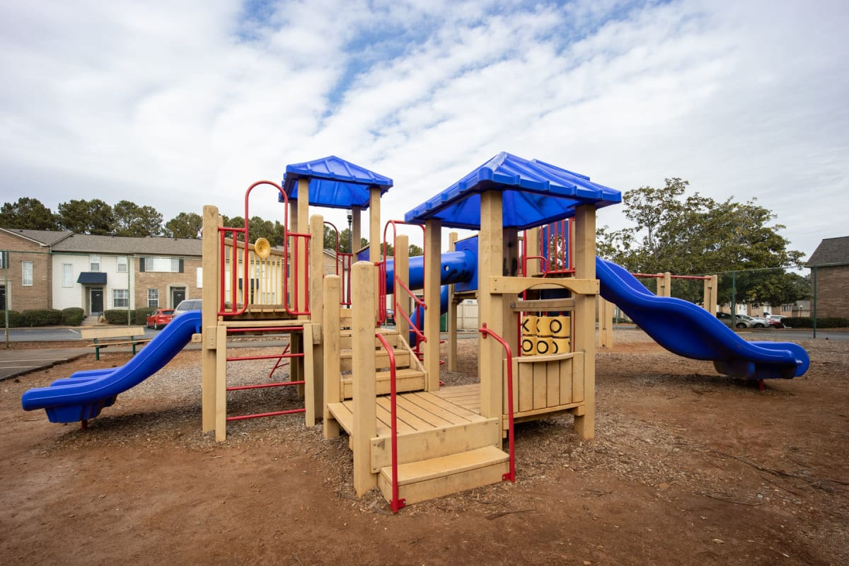 Slides and more at the children's playground at Sedgefield in Marietta, Georgia