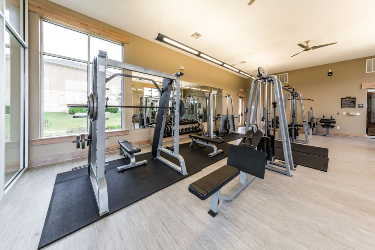 Fully equipped fitness center at Marquis at Canyon Ridge in Austin, Texas