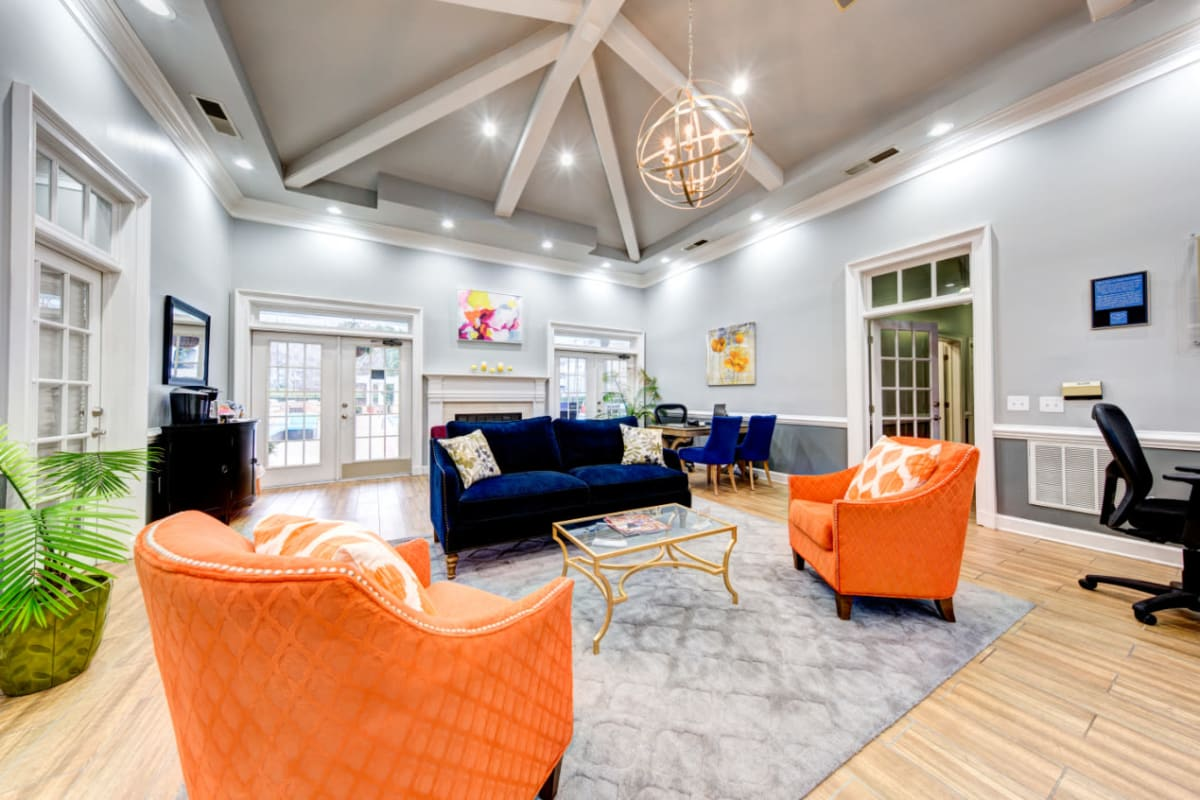 Bright resident clubhouse at Marquis on Cary Parkway