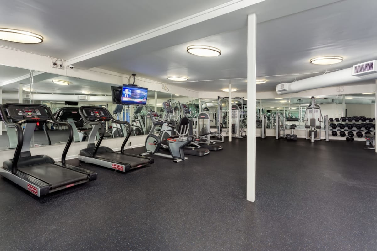 Fully equipped fitness room at Marq on Ponce in Atlanta, Georgia