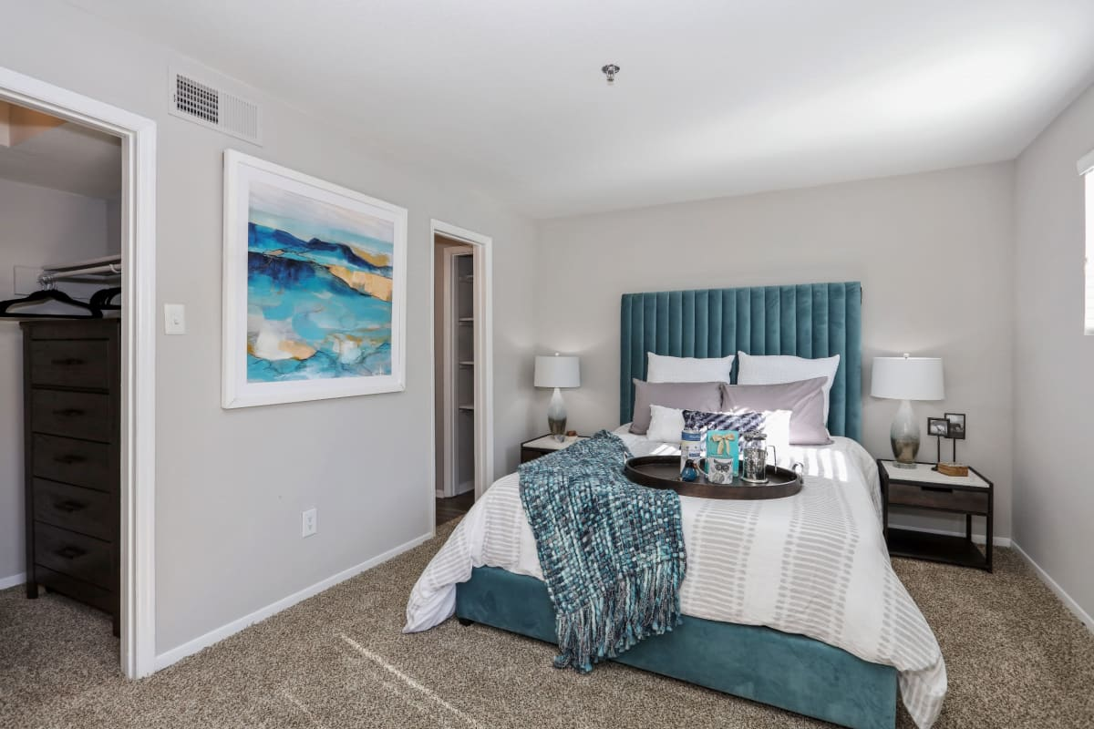 Bedroom decorated in a model home at 45Eighty Dunwoody Apartment Homes in Dunwoody, Georgia