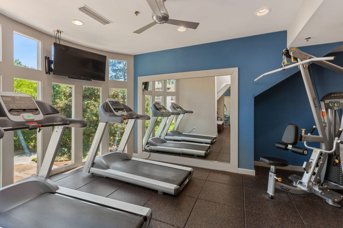 Fitness center where residents can get a nice sweat going at 45Eighty Dunwoody Apartment Homes in Dunwoody, Georgia