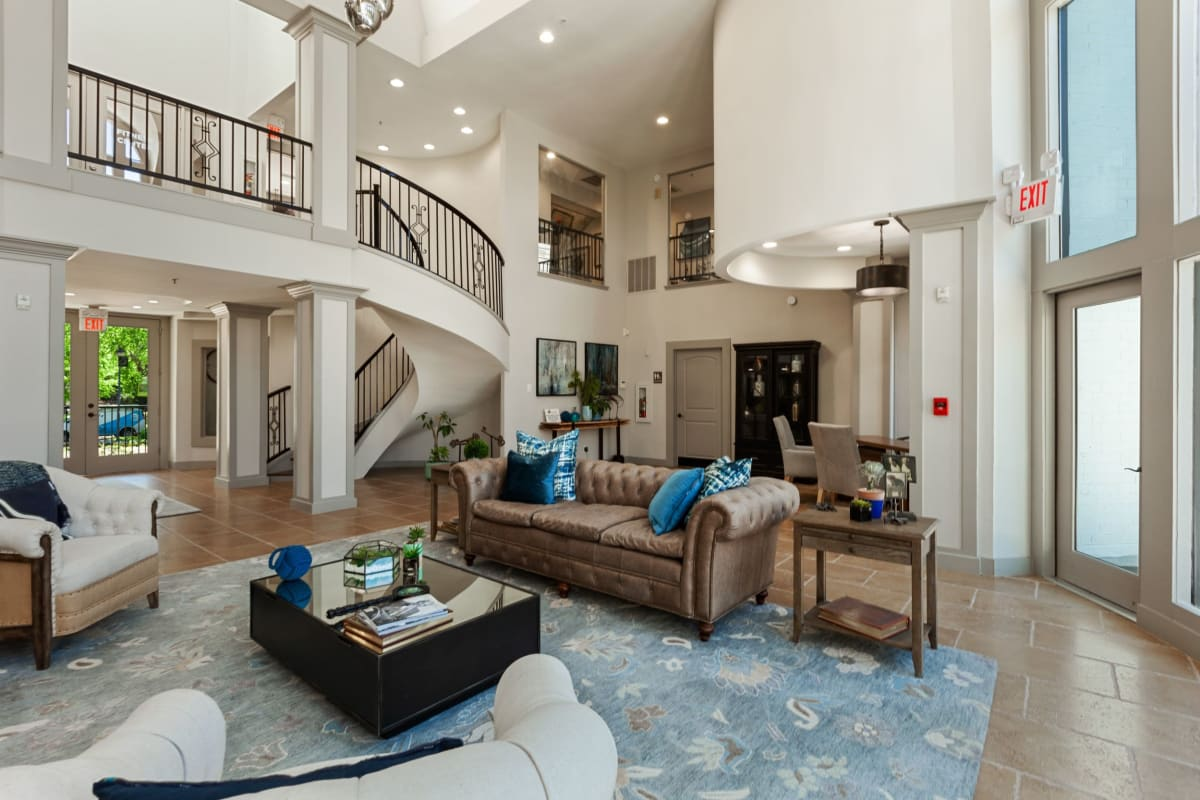 Huge clubhouse with lots of room for residents to relax in at 45Eighty Dunwoody Apartment Homes in Dunwoody, Georgia